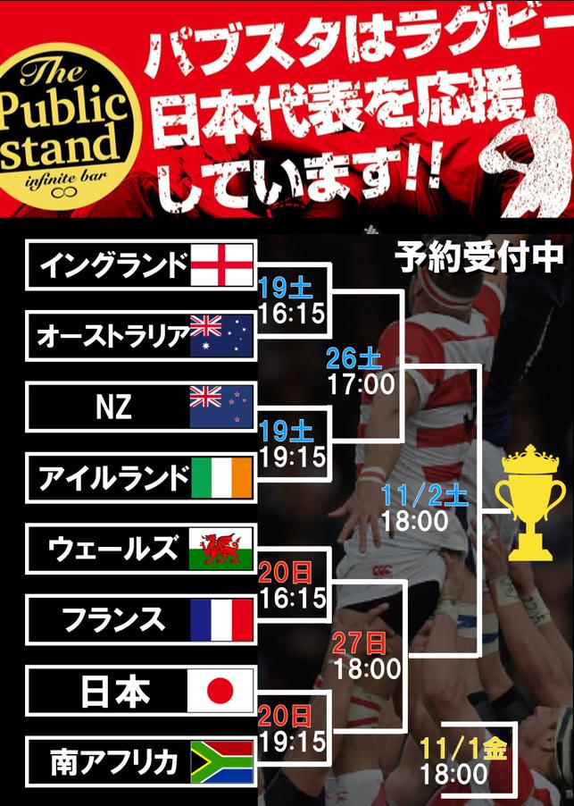 「ラグビーワールドカップ決勝戦」をパブスタで応援しよう!